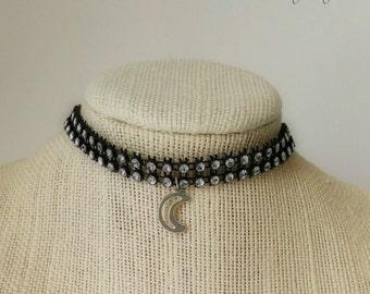 Sparkly Gemstone Moon Choker, Adjustable Length, Gypsy Wedding, Bridal, Glamour Moon, Prom, Sweethearts, One Necklace (1)