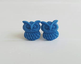 Blue Owl Plugs for Gauged Ears Sizes 00g, 0G, 2G, 4G , 6G, 4mm, 5mm, 6mm, 8mm, 10mm, Also Available for Pierced Ears