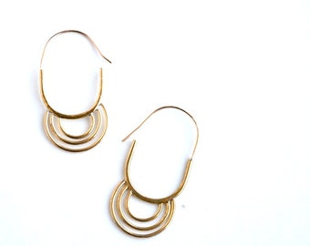 P a s s a g e Hoops : Hand forged Brass Geometric Ring Arch Hoop Earrings 14k Gold