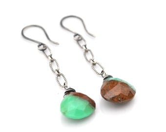 Natural Chrysoprase Earrings, Bi Chrysoprase Dangle Earrings, Boho Brown & Mint Green Chrysoprase Gemstone Dangles, Gift For her