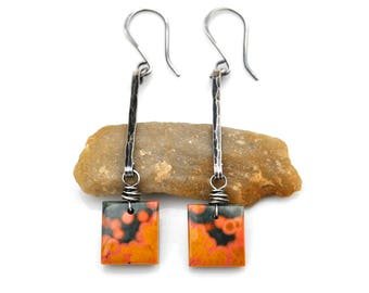 Ocean Jasper Earrings, Long Hammered Silver Bar Earrings, Natural Ocean Jasper Squares, Oxidized Silver Gemstone Dangles