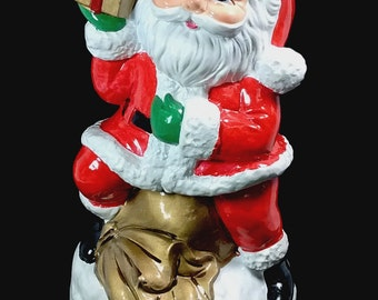 "Vintage Santa Claus Sitting On Toy Bag Holding Present ""Santa Is Coming To Town"" Music Box Bank In Original Box Japan"