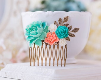 Teal blue Coral Wedding Hair Comb Turquoise Aqua Coral Bridal Hair Piece Country Chic Garden Wedding Rose Leaf Comb Bridesmaid Gift