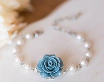 Bridesmaid Bracelet Flower Girl Bracelet Dusty Blue French Blue Rose White Pearls Bracelet Something Blue Wedding Silver Bridal Jewelry