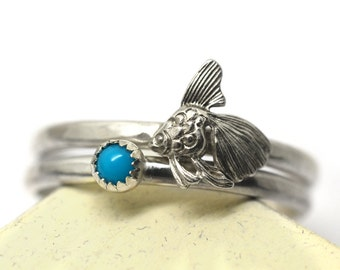 Silver Goldfish Ring, Fish Ring, Tiny 3mm Turquoise Ring, Hammered Sterling Silver Stacking Ring Set, Dainty Natural Tiny Gemstone Jewelry