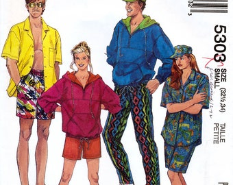 McCall's 5303 Vintage 90s Misses' or Men's/Teen Boys' Sweatshirt, Shirt, Pants or Shorts and Hat Sewing Pattern - Uncut - Size Small