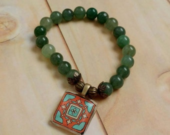 Stretch Tile Charm Bracelet, Green Aventurine Gemstones, Spanish, Mexican, Catalina and Mediterranean Tile Inspired Antiqued Brass Accents