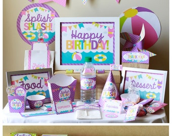 Girl Pool Party Birthday Decorations - Beach Party Decorations - Pool Party Decorations - Pool Party Decor - Girl Pool Party - Party Favor