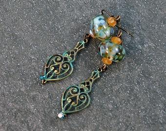 Victorian Aqua Blue Brown Yellow Lampwork Boho Chic Antique Brass Earrings