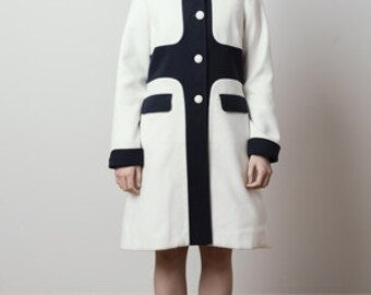 White and blue soft wool coat 60s retro mod set custom made