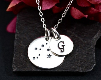 Personalized Aquarius Constellation Necklace - Aquarius Star Sign Necklace with Hand Stamped Initial in Sterling Silver