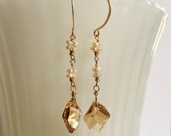 Gold Swarovski Crystal Pearl Flower Earrings Gold Crystal Dangles White Pearl Drops June Birthstone Bride Earring