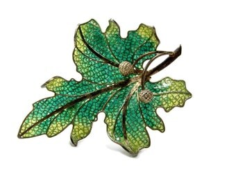 Plique a Jour Oak Leaf Brooch, 800 Silver, Vintage Jewelry, Enamel Brooch, Estate Jewelry, Silver Acorns, Enamel Pin