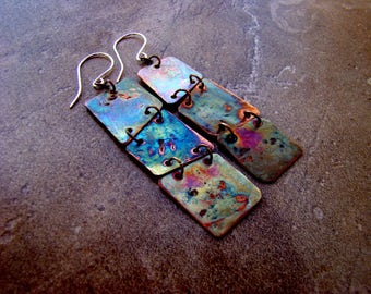 Copper abstract earrings, dangle, coloured in flames, rustic copper, textured, metalwork, artisan jewelry, made to order