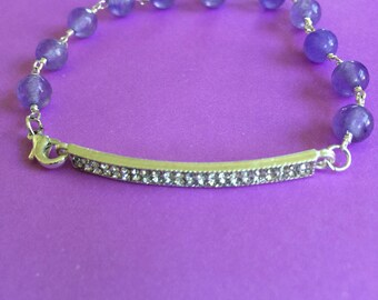 Bridal Amethyst and Crystal Bar Bracelet