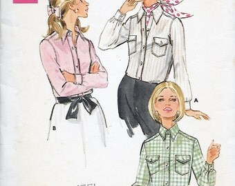 Butterick 5228 Women's 60s Blouse Sewing Pattern in Two Versions Size 14 Bust 36
