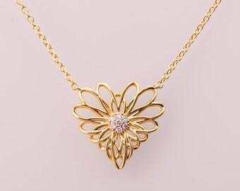 Heart Pendant, 14K Gold Mandala Necklace, Gold boho necklace, Lotus Necklace, Nature Inspired Jewelry, Mandala Pendant, Gold Pendant, yoga