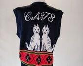 CATS Novelty Knit Sweater Vest Shirt Top
