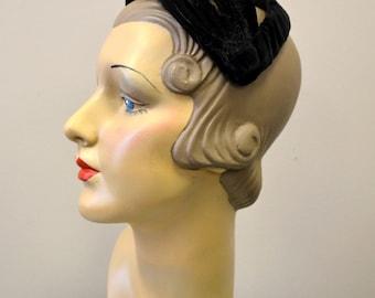 1950s Velvet and Feather Headband Hat