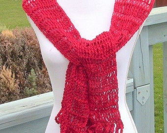 Scarf, Red Scarf, All Season Scarf, Long Scarf, Red Sparkly Scarf, Lightweight Scarf