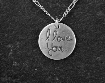 "Sterling Silver ""I love you"" Pendant on a Sterling Silver Chain"