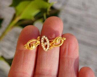 Victorian 10K Gold Seed Pearl Diamond Petite Brooch