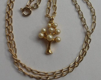 Pearl Tree Necklace! Gold Plated Tree! Eight Faux Pearls! The June Birthstone Is Pearls! No Wear On The Gold Plating! Free S & H! On Sale!