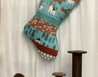 Pet Stocking -  Dog Christmas Stocking - Quilted, Dog Bones, Teal, Black, Brown, White, Modern, Patchwork, Home Decor,