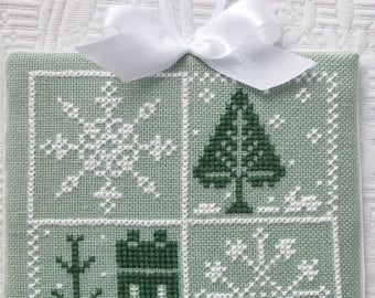 Handmade Finished Cross Stitch Christmas Ornament  FRESH FALLEN SNOW