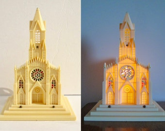 Raylite Musical Church, Light-up Stained Glass Windows, Silent Night music box