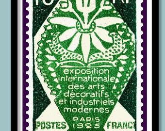 Art Deco Exhibition Poster . Paris 1925 Vintage Stamp Print A3 size . French Art Deco print