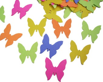 100 Bright Color Butterfly Confetti, Birthday Party Decorations, Paper Crafts - No296