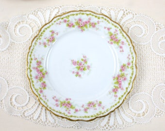 Limoges Luncheon Plates, SET of 4 Plates, Wedding Plates, Pink and Green Floral, French Antique Plates, Bawo & Dotter, c.1800s