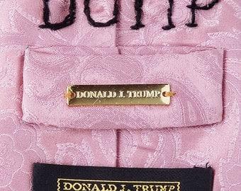"Pink ""DUMP TRUMP"" satirical embroidered silk necktie / political / election / collectable / original artwork / fiber arts/ paisley"