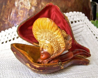 Antique Meerschaum Ladies Pipe Hand Carved Lady Figural Meerschaum Tobacco Pipe Smoking Accessory Meerschaum Lady With Bonnet Late 1800s