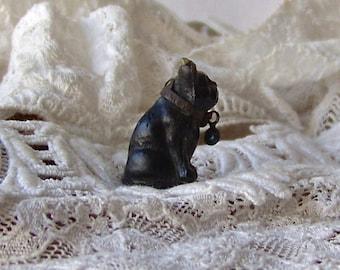 Vintage Glass Dog Charm Leather Collar Czechoslovakia Miniature Charm 1920s