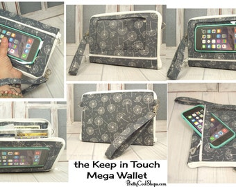 Cell Phone Wallet • Dandelion Grey • Keep in Touch MEGA Wallet • 1b