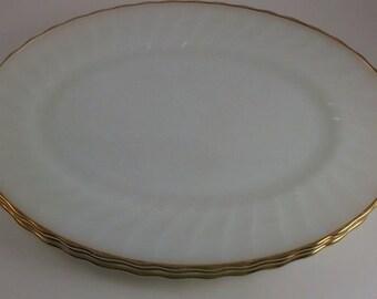 Vintage Milk Glass Platter, Oval Serving Platter with Gold Edge, Anchor Hocking