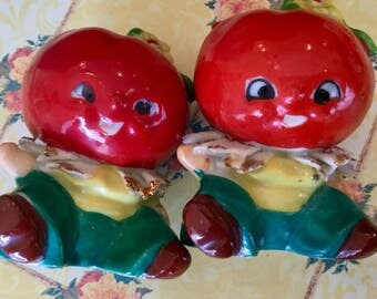 Salt and Pepper Shakers - Anthromorphic - vintage TOMATO salt and pepper shakers -  1950's
