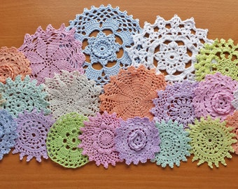 20 Pastel Colors, Hand Dyed Vintage Crochet Doilies for Decorating, Crafts, Hobbies, Holidays, Weddings