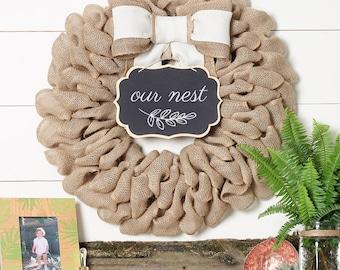 Farmhouse Decor, Fireplace Mantel Decor, Our Nest First Home Sign, Boxwood Wreath Alternative, Rustic Home Decor, Modern Wreath
