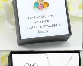 Christmas Gift For Mom, Mothers Birthstone Necklace, Mothers Necklace, Mothers Jewelry, Mothers Day Gift, Wife Gift Grandma Gift Birthday