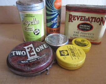 Vintage Lot of Tins to Recycle Reuse Repurpose Upcycle