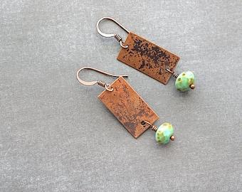 Copper Rectangle / Green Turquoise Picasso Rondell / Bohemian Dangle Earrings