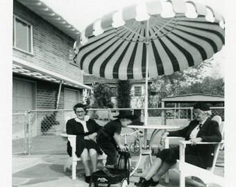"Vintage Photo ""Resting Under the Carnival Umbrella"" Snapshot Antique Photo Old Black & White Photograph Found Paper Ephemera Vernacular - 14"