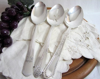 Mismatched Flatware, Art Deco 3-Pc Hostess Set, Antique Silverware, Tablespoons Serving Spoons, Vintage Silver Plate Serving Set, Fine