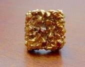 Fabulous Vintage 1960s Gold Tone Big Brutalist Ring Adjustable Bold Square Nubbly Metal