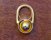 Vintage Modern 1960s Bold Geo Mod Architectural GoldTone Ring Adjustable