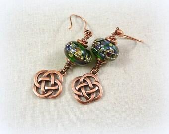Celtic Earrings - Celtic Knot Heart Earrings - Copper Celtic Earrings - Emerald Green Earrings with Copper Celtic Knot Charm, Green Earrings