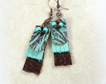 Turquoise and Brown Leather Earrings - Western Leather Earrings - Leather Dangle Earrings - Bohemian Leather Earrings